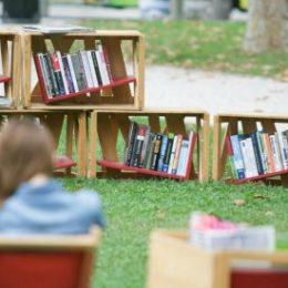 Bookshelves are seen in a Library under the Treetops, a unique project offering people free outdoor reading, in Zvezda park in Ljubljana, Aug. 21, 2015.